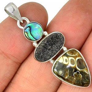 Jewelry - Turtella Jasper, Abalone, Black Druzy 925 Pendant
